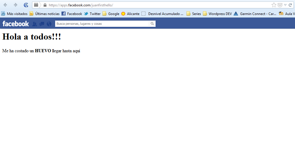 Mi primer resultado en Facebook