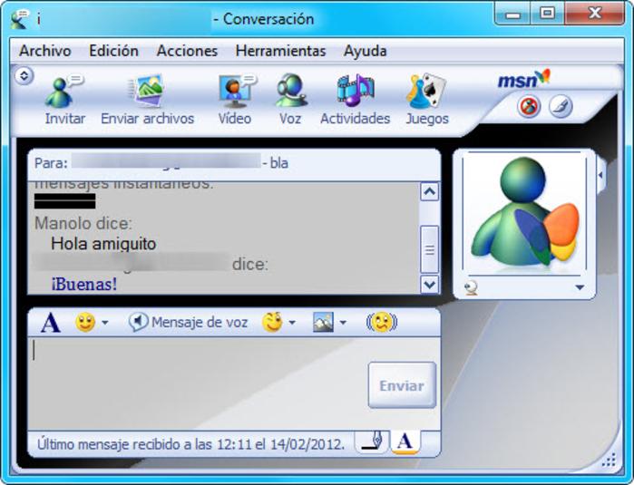 Interfaz de MSN Messenger