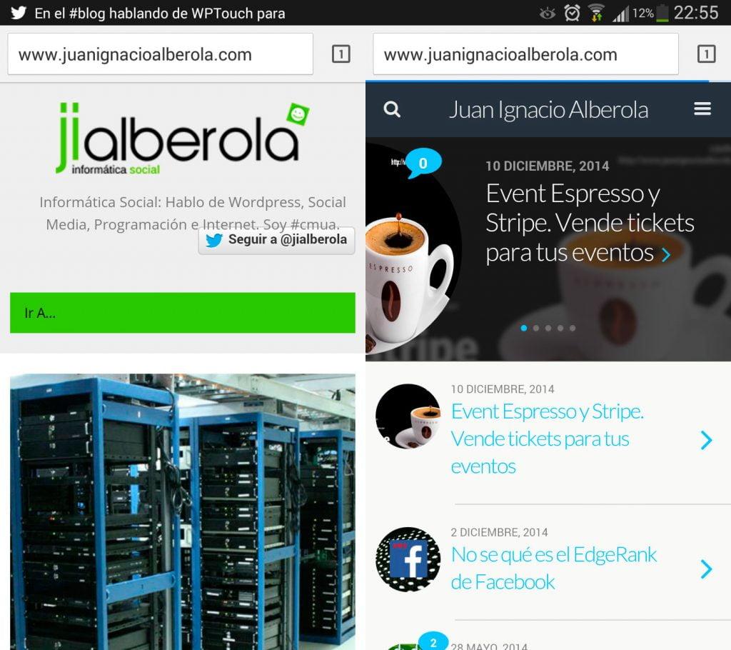 Mi página web responsive (a la izquierda) y con el theme Bahaus de WPTouch.