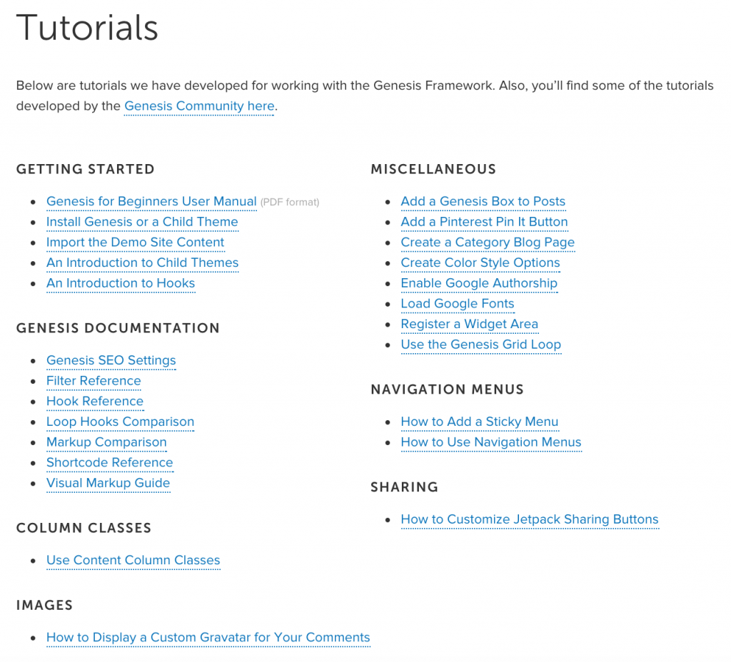 tutorials genesis