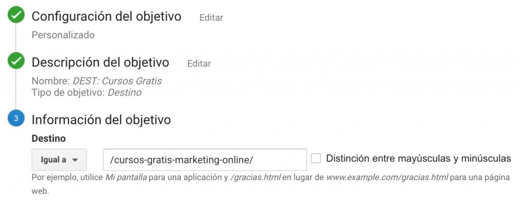 Creando un objetivo de tipo destino en Google Analytics